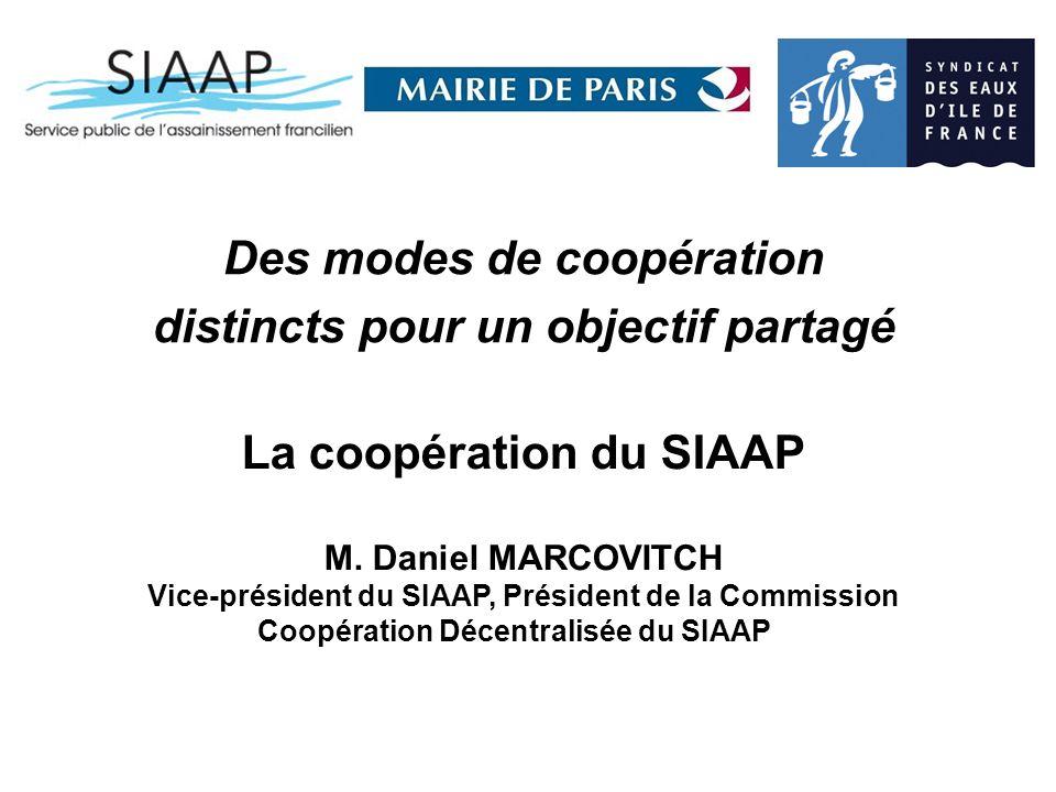 Des modes de coopération distincts pour un objectif partagé La coopération du SIAAP M.