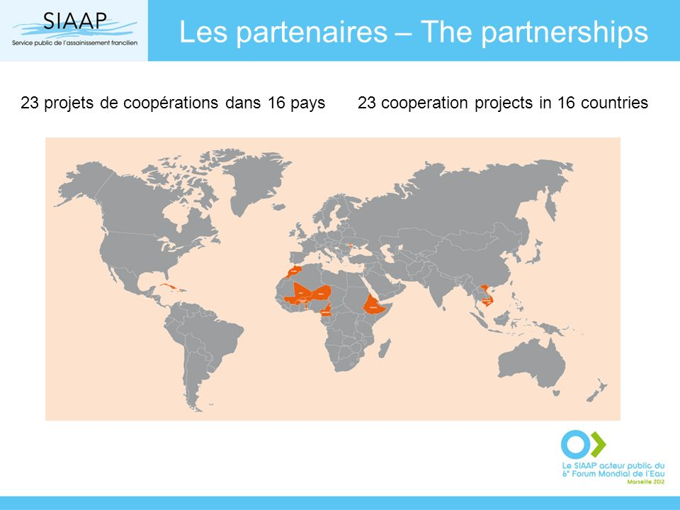 Les partenaires – The partnerships 23 projets de coopérations dans 16 pays23 cooperation projects in 16 countries