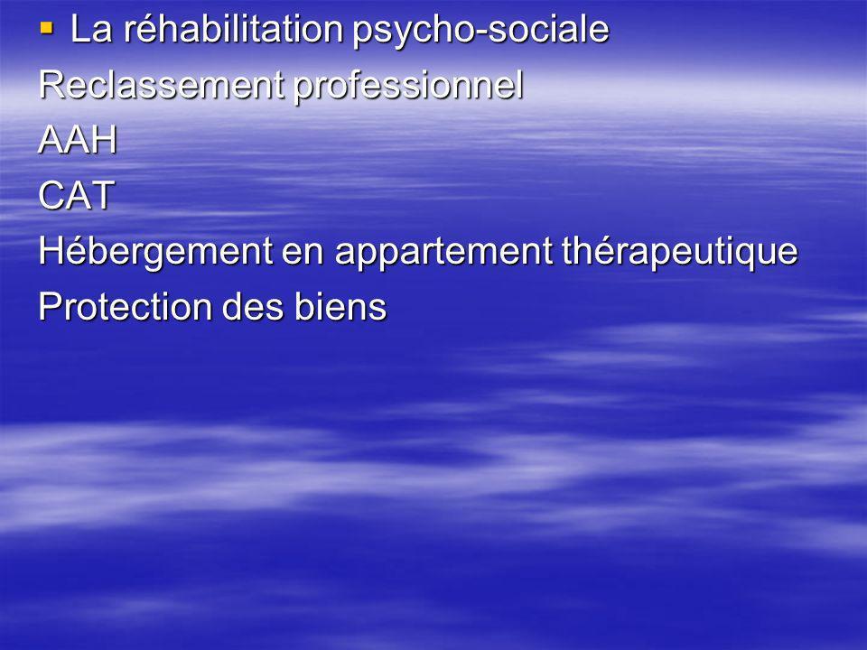 La réhabilitation psycho-sociale La réhabilitation psycho-sociale Reclassement professionnel AAHCAT Hébergement en appartement thérapeutique Protectio