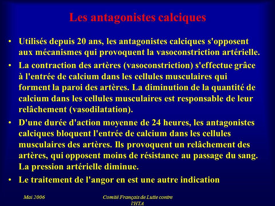 Mai 2006Comité Français de Lutte contre l'HTA Les antagonistes calciques Utilisés depuis 20 ans, les antagonistes calciques s'opposent aux mécanismes