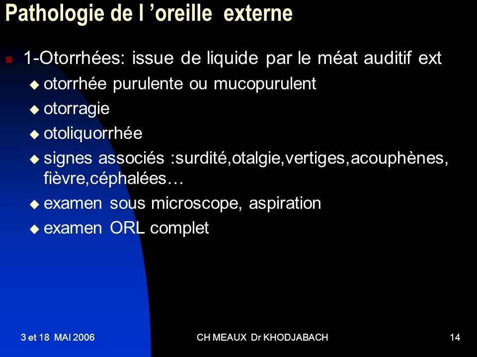 3 et 18 MAI 2006CH MEAUX Dr KHODJABACH14 Pathologie de l oreille externe 1-Otorrhées: issue de liquide par le méat auditif ext otorrhée purulente ou m