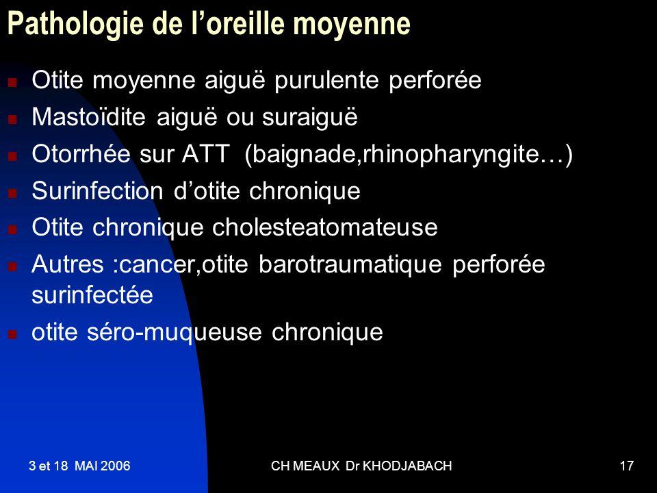 3 et 18 MAI 2006CH MEAUX Dr KHODJABACH17 Pathologie de loreille moyenne Otite moyenne aiguë purulente perforée Mastoïdite aiguë ou suraiguë Otorrhée s