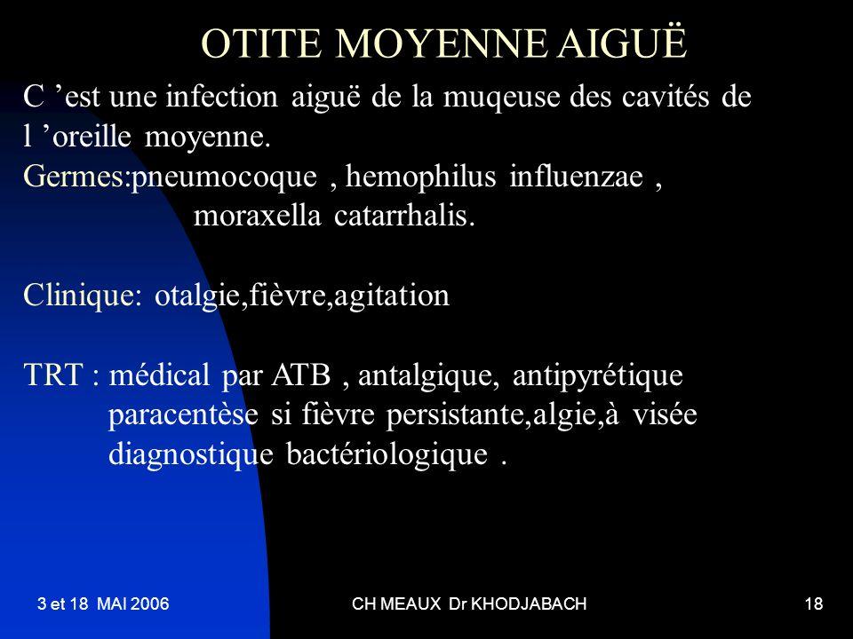 3 et 18 MAI 2006CH MEAUX Dr KHODJABACH18 OTITE MOYENNE AIGUË C est une infection aiguë de la muqeuse des cavités de l oreille moyenne. Germes:pneumoco
