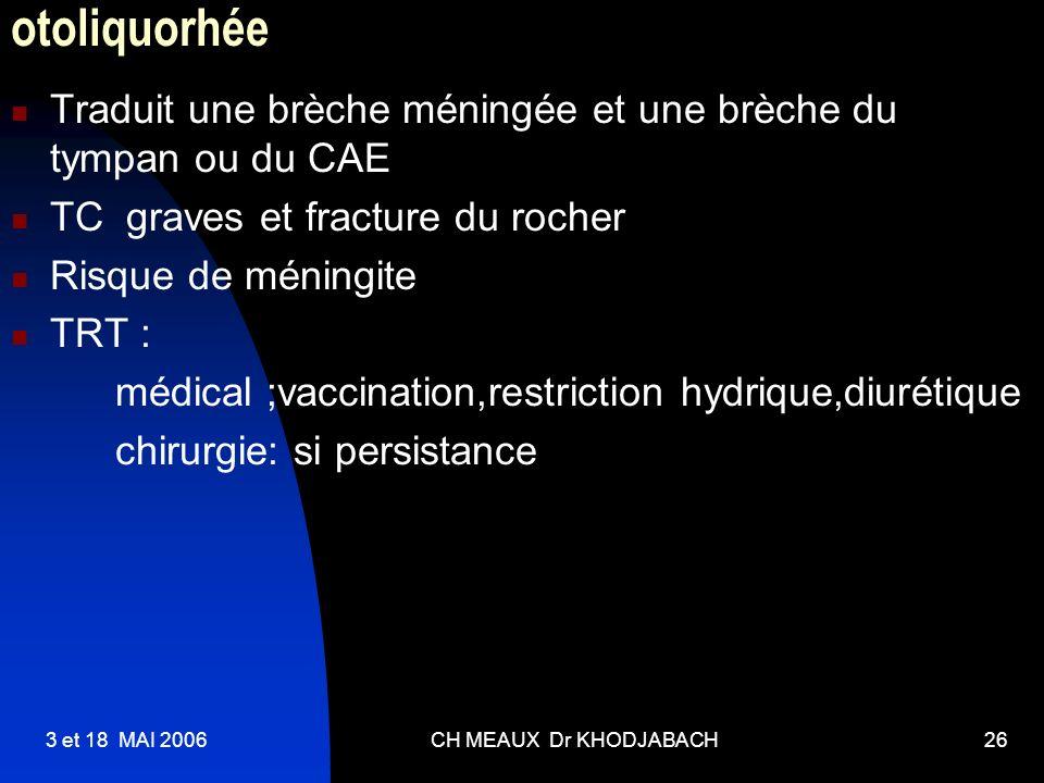 3 et 18 MAI 2006CH MEAUX Dr KHODJABACH26 otoliquorhée Traduit une brèche méningée et une brèche du tympan ou du CAE TC graves et fracture du rocher Ri