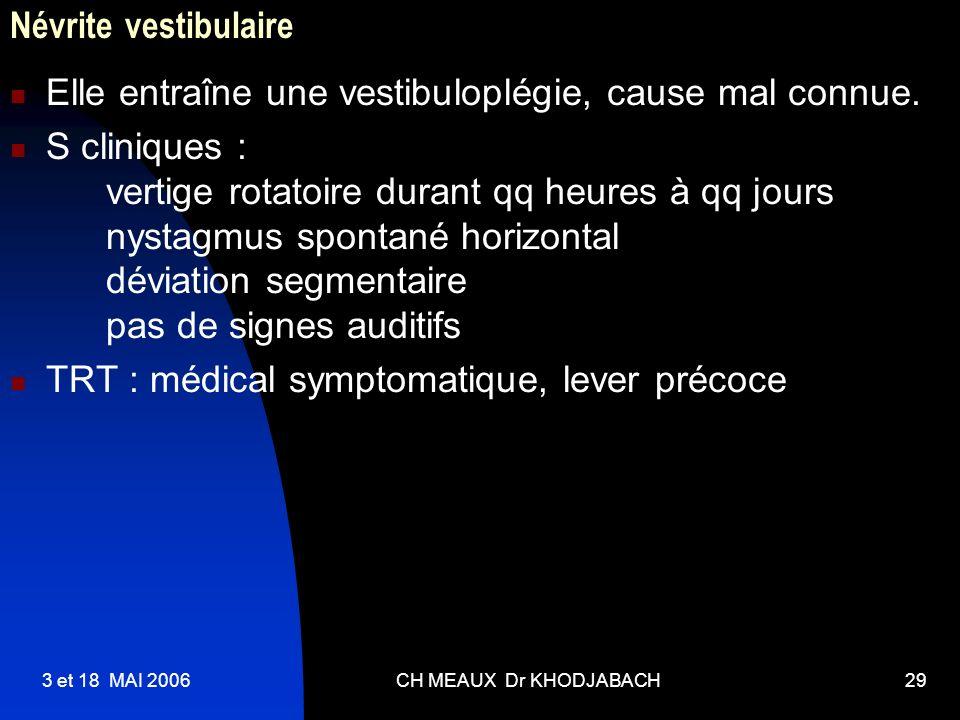 3 et 18 MAI 2006CH MEAUX Dr KHODJABACH29 Névrite vestibulaire Elle entraîne une vestibuloplégie, cause mal connue. S cliniques : vertige rotatoire dur