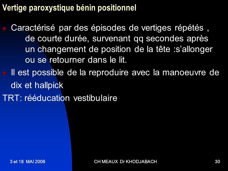 3 et 18 MAI 2006CH MEAUX Dr KHODJABACH30 Vertige paroxystique bénin positionnel Caractérisé par des épisodes de vertiges répétés, de courte durée, sur