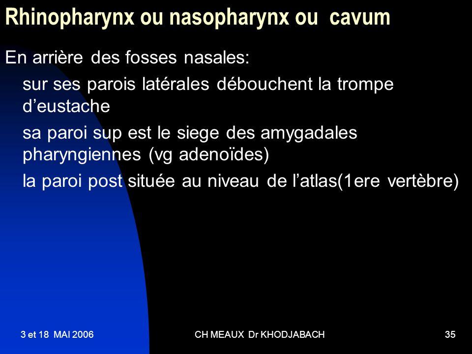 3 et 18 MAI 2006CH MEAUX Dr KHODJABACH35 Rhinopharynx ou nasopharynx ou cavum En arrière des fosses nasales: sur ses parois latérales débouchent la tr