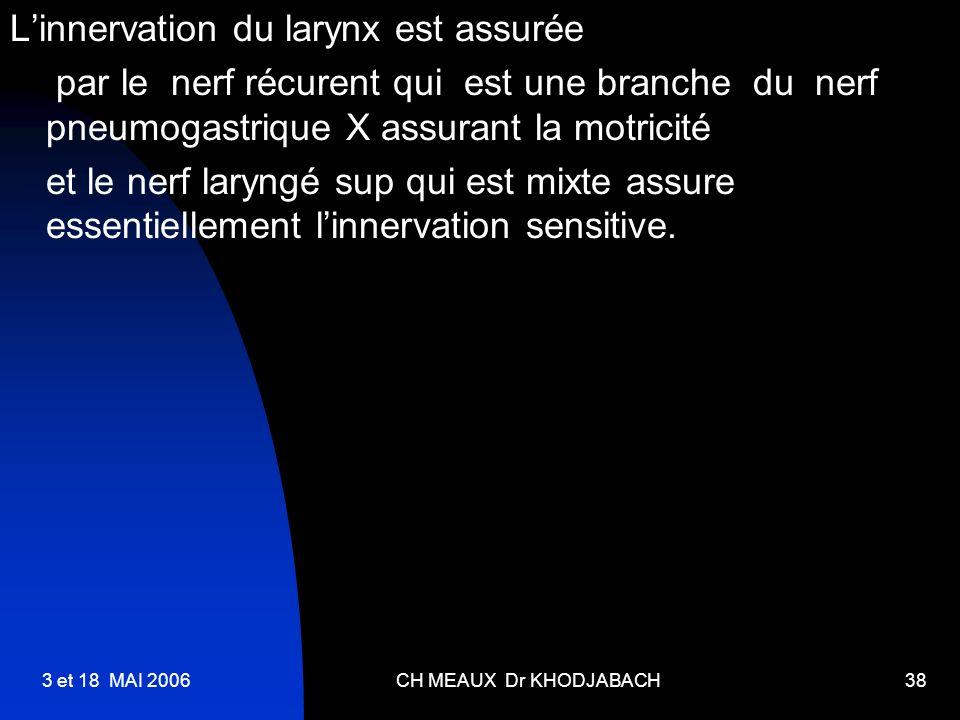 3 et 18 MAI 2006CH MEAUX Dr KHODJABACH38 Linnervation du larynx est assurée par le nerf récurent qui est une branche du nerf pneumogastrique X assuran