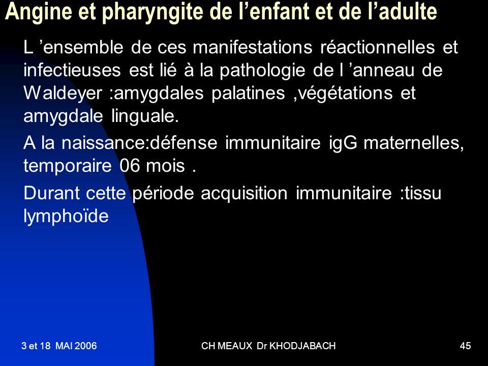 3 et 18 MAI 2006CH MEAUX Dr KHODJABACH45 Angine et pharyngite de lenfant et de ladulte L ensemble de ces manifestations réactionnelles et infectieuses