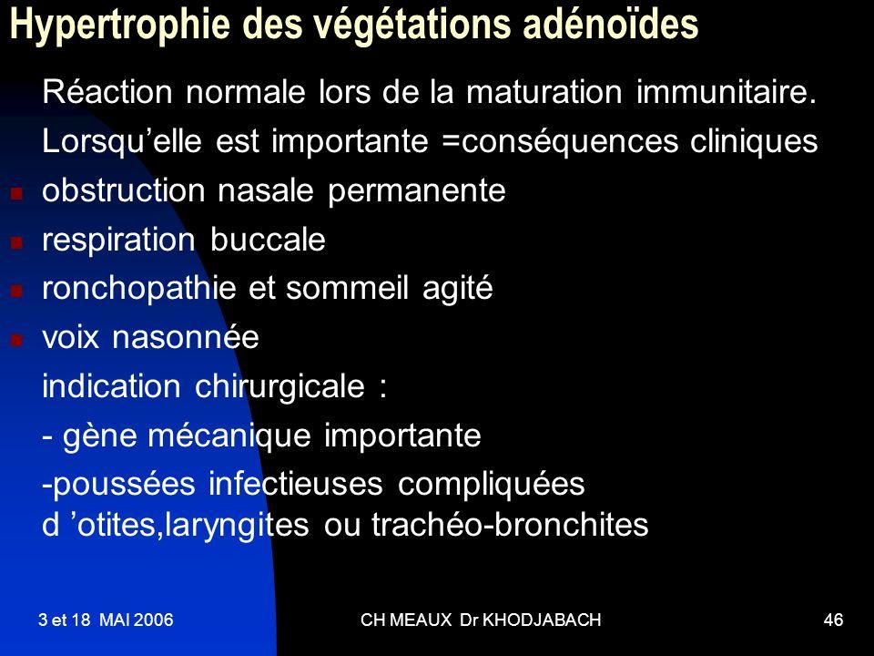 3 et 18 MAI 2006CH MEAUX Dr KHODJABACH46 Hypertrophie des végétations adénoïdes Réaction normale lors de la maturation immunitaire. Lorsquelle est imp