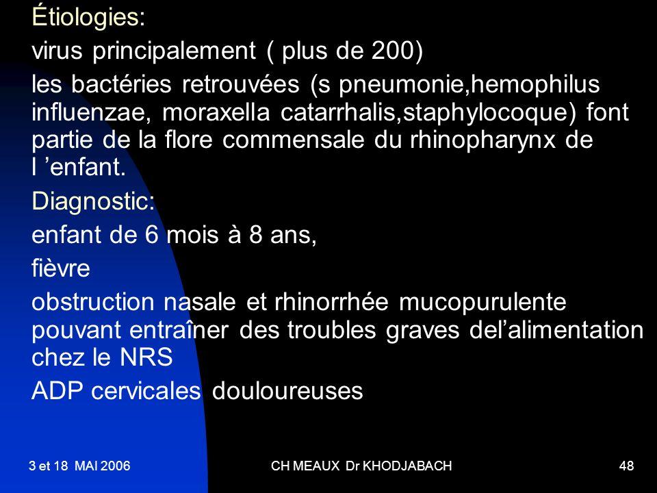 3 et 18 MAI 2006CH MEAUX Dr KHODJABACH48 Étiologies: virus principalement ( plus de 200) les bactéries retrouvées (s pneumonie,hemophilus influenzae,