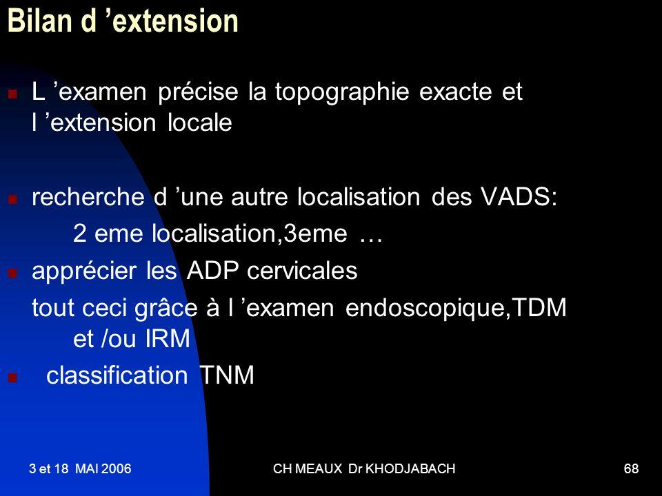 3 et 18 MAI 2006CH MEAUX Dr KHODJABACH68 Bilan d extension L examen précise la topographie exacte et l extension locale recherche d une autre localisa