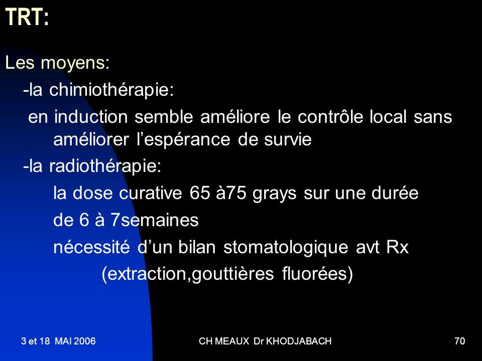 3 et 18 MAI 2006CH MEAUX Dr KHODJABACH70 TRT: Les moyens: -la chimiothérapie: en induction semble améliore le contrôle local sans améliorer lespérance