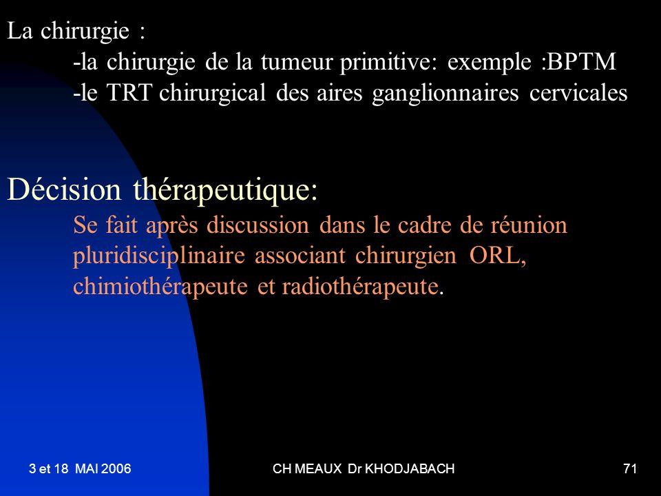 3 et 18 MAI 2006CH MEAUX Dr KHODJABACH71 La chirurgie : -la chirurgie de la tumeur primitive: exemple :BPTM -le TRT chirurgical des aires ganglionnair