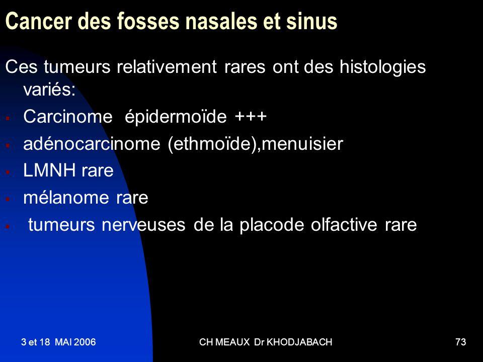 3 et 18 MAI 2006CH MEAUX Dr KHODJABACH73 Cancer des fosses nasales et sinus Ces tumeurs relativement rares ont des histologies variés: Carcinome épide