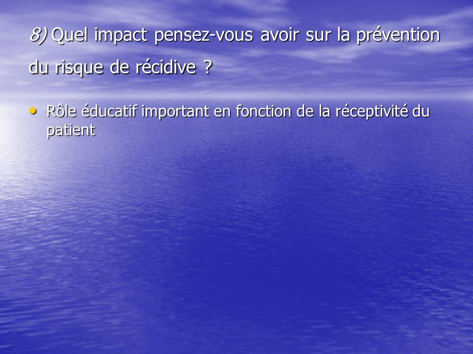 8) Quel impact pensez-vous avoir sur la prévention du risque de récidive ? Rôle éducatif important en fonction de la réceptivité du patient Rôle éduca