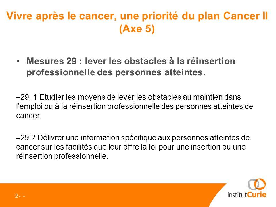 Plan Cancer II : préparer la vie après le cancer, une nouvelle priorité oUn programme personnalisé de laprès-cancer sera proposé aux patients.