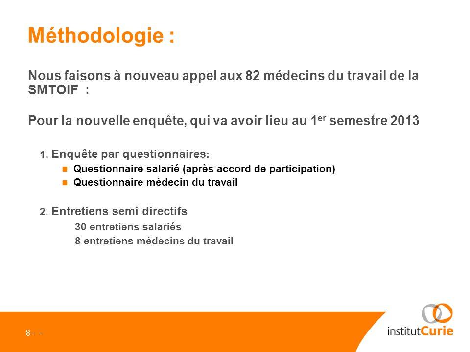 8 - - Méthodologie : Nous faisons à nouveau appel aux 82 médecins du travail de la SMTOIF : Pour la nouvelle enquête, qui va avoir lieu au 1 er semestre 2013 1.