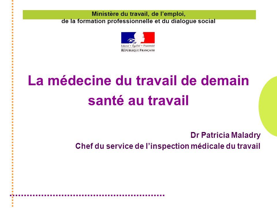 Ministère du travail, de lemploi, de la formation professionnelle et du dialogue social La médecine du travail de demain santé au travail Dr Patricia Maladry Chef du service de linspection médicale du travail