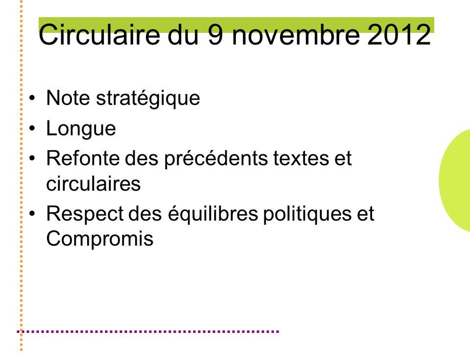 Circulaire du 9 novembre 2012 Note stratégique Longue Refonte des précédents textes et circulaires Respect des équilibres politiques et Compromis