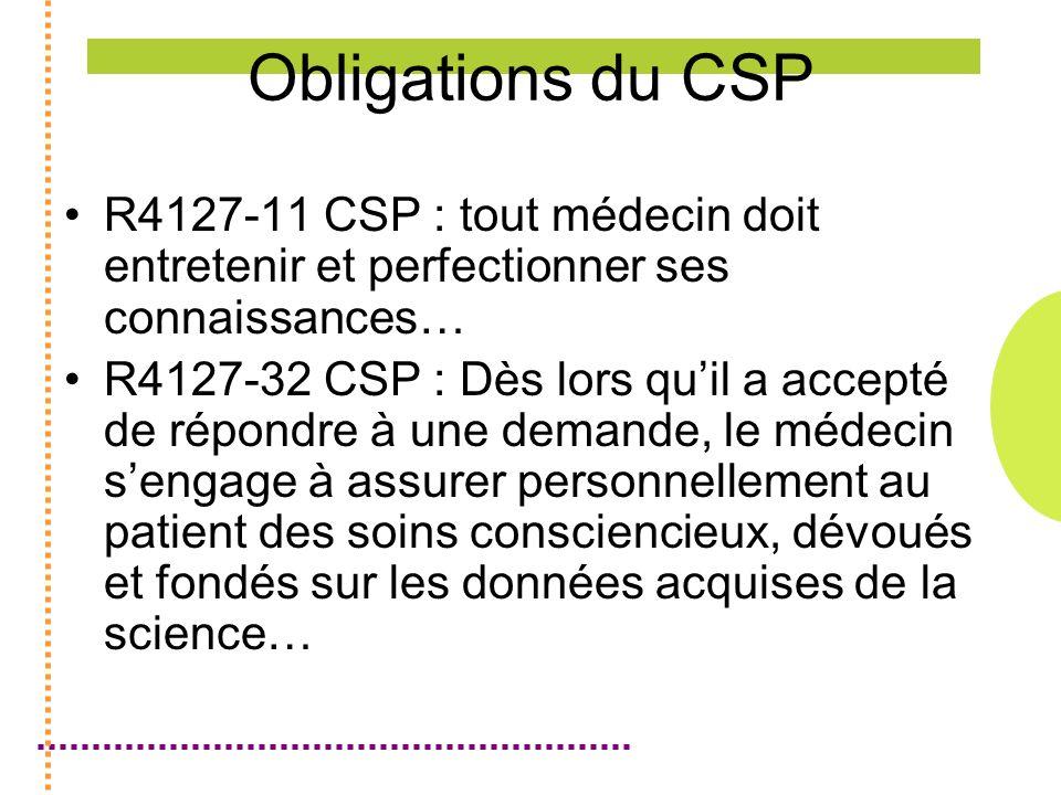 Obligations du CSP R4127-11 CSP : tout médecin doit entretenir et perfectionner ses connaissances… R4127-32 CSP : Dès lors quil a accepté de répondre à une demande, le médecin sengage à assurer personnellement au patient des soins consciencieux, dévoués et fondés sur les données acquises de la science…