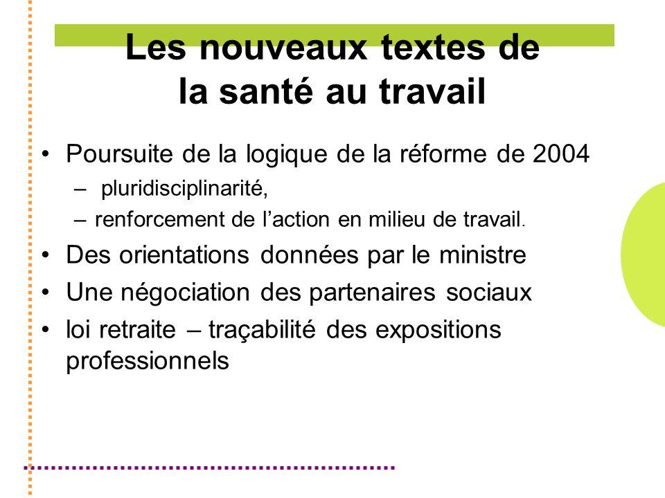 Les nouveaux textes de la santé au travail Poursuite de la logique de la réforme de 2004 – pluridisciplinarité, –renforcement de laction en milieu de travail.