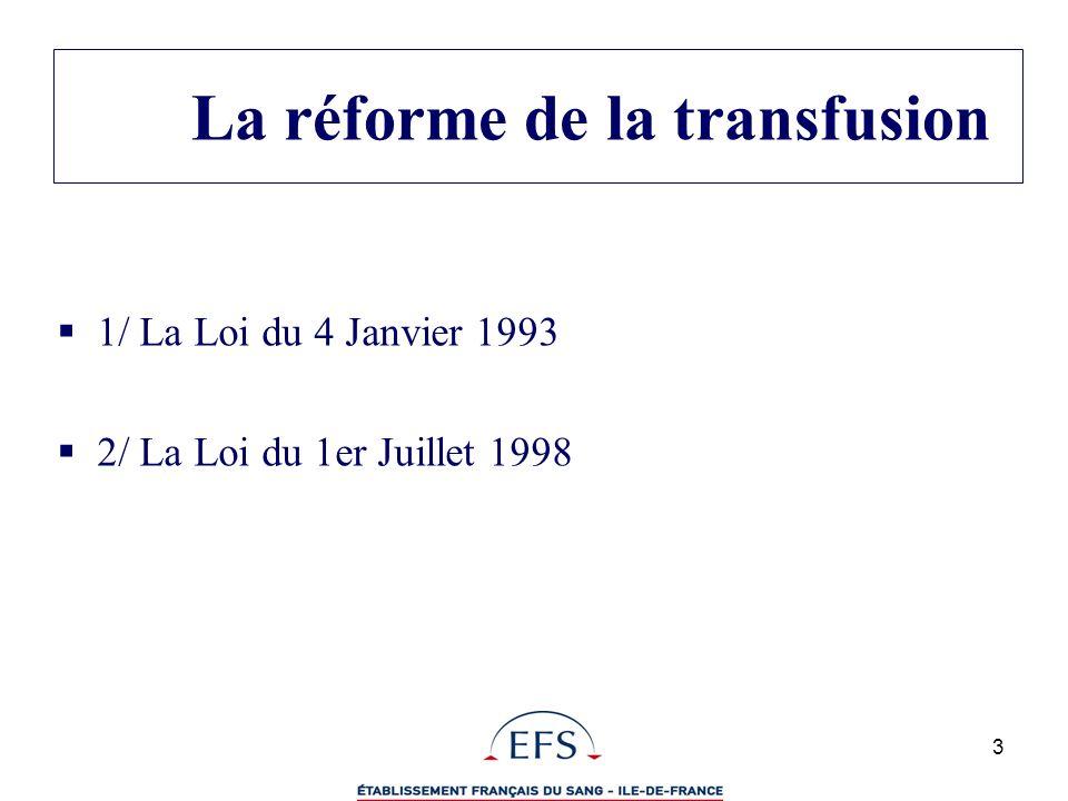 3 La réforme de la transfusion 1/ La Loi du 4 Janvier 1993 2/ La Loi du 1er Juillet 1998