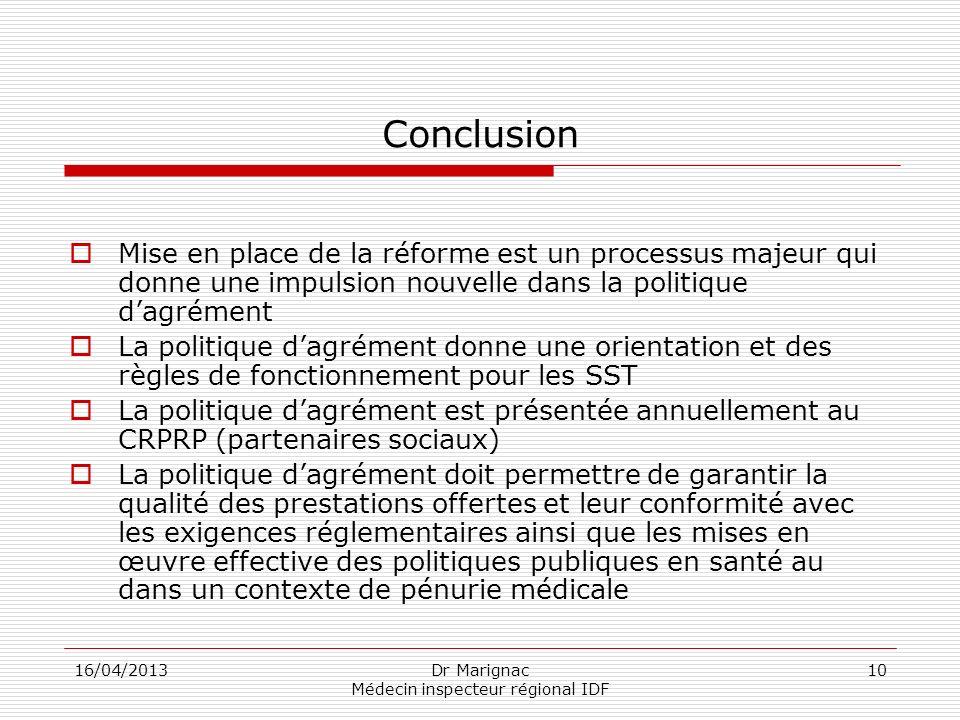 16/04/2013Dr Marignac Médecin inspecteur régional IDF 10 Conclusion Mise en place de la réforme est un processus majeur qui donne une impulsion nouvel