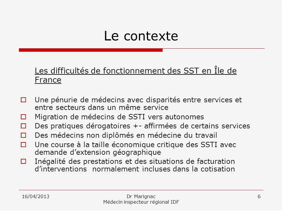 16/04/2013Dr Marignac Médecin inspecteur régional IDF 6 Le contexte Les difficultés de fonctionnement des SST en Île de France Une pénurie de médecins