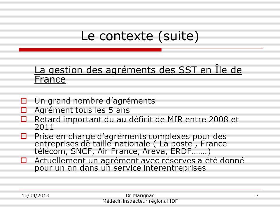 16/04/2013Dr Marignac Médecin inspecteur régional IDF 7 Le contexte (suite) La gestion des agréments des SST en Île de France Un grand nombre dagrémen