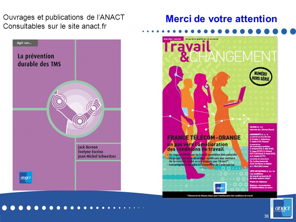 30 Merci de votre attention Ouvrages et publications de lANACT Consultables sur le site anact.fr