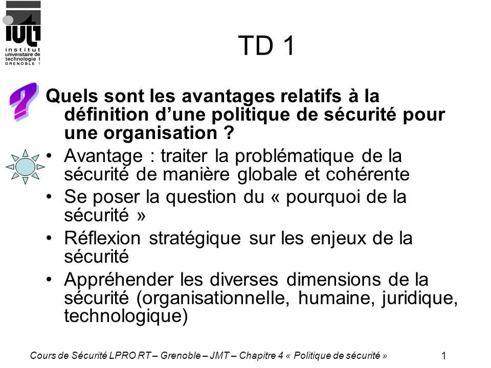 1 Cours de Sécurité LPRO RT – Grenoble – JMT – Chapitre 4 « Politique de sécurité » TD 1 Quels sont les avantages relatifs à la définition dune politique de sécurité pour une organisation .