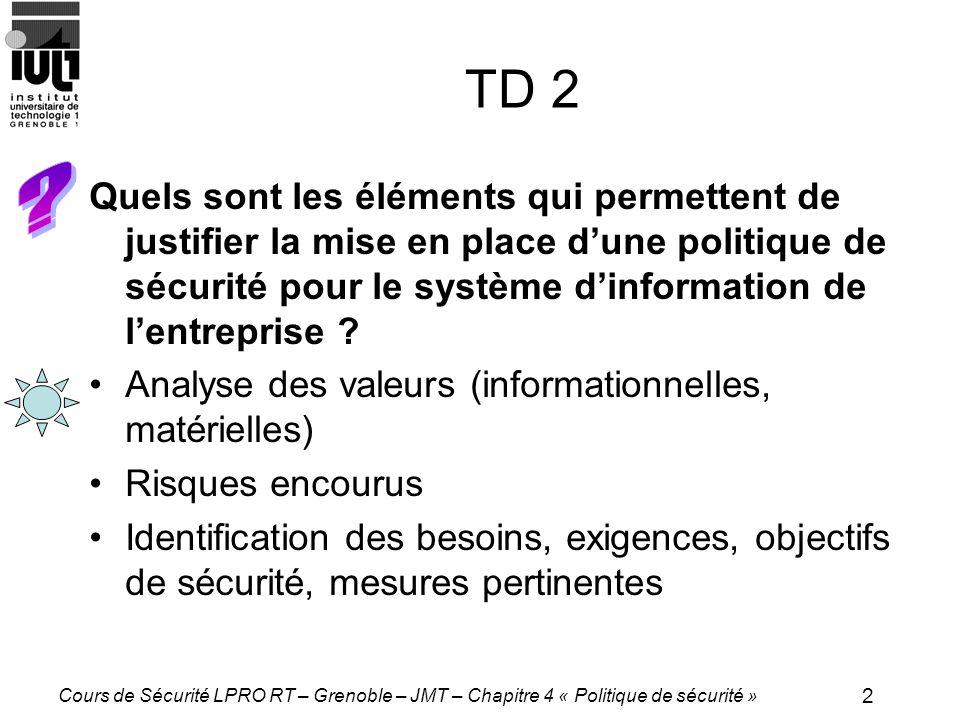 2 Cours de Sécurité LPRO RT – Grenoble – JMT – Chapitre 4 « Politique de sécurité » TD 2 Quels sont les éléments qui permettent de justifier la mise en place dune politique de sécurité pour le système dinformation de lentreprise .