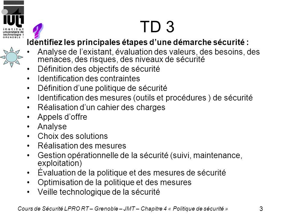 4 Cours de Sécurité LPRO RT – Grenoble – JMT – Chapitre 4 « Politique de sécurité » TD 4 Quels sont, pour les entreprises, les avantages et inconvénients potentiels liés à lexternalisation (outsourcing) de leur sécurité informatique par rapport à une gestion interne de la sécurité .