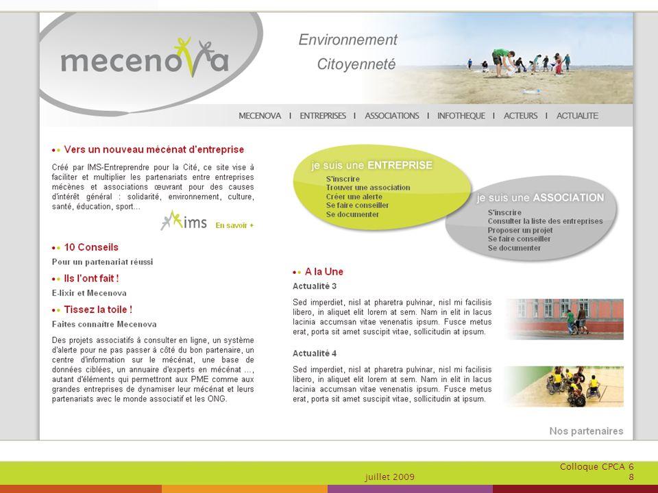 Colloque CPCA 6 juillet 2009 8 Présentation du site