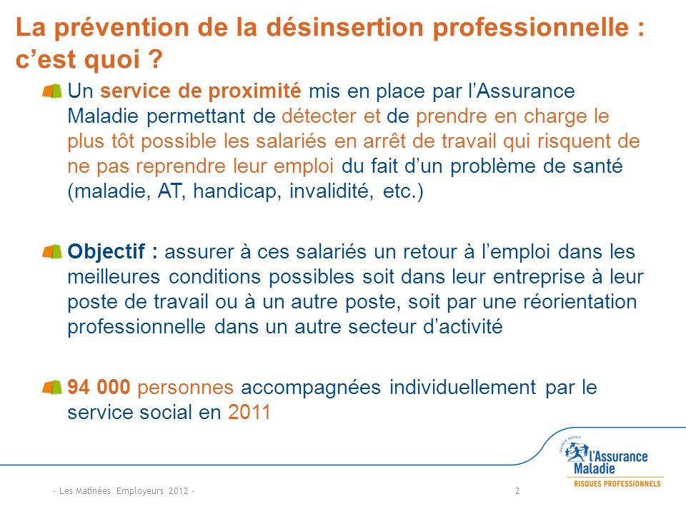 La prévention de la désinsertion professionnelle : cest quoi ? Un service de proximité mis en place par lAssurance Maladie permettant de détecter et d