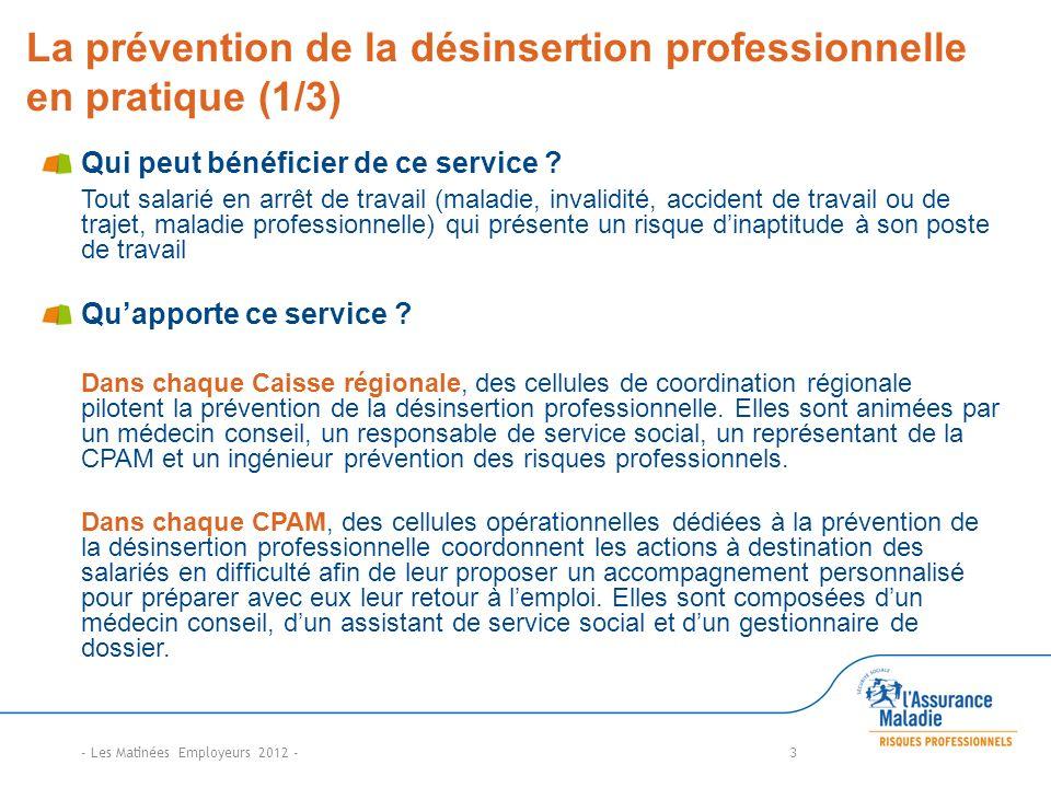La prévention de la désinsertion professionnelle en pratique (1/3) Qui peut bénéficier de ce service ? Tout salarié en arrêt de travail (maladie, inva