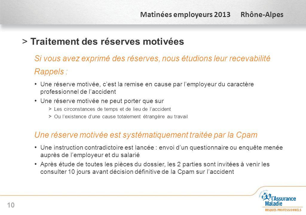 Matinées employeurs 2013 Rhône-Alpes >Traitement des réserves motivées Si vous avez exprimé des réserves, nous étudions leur recevabilité Rappels : Un