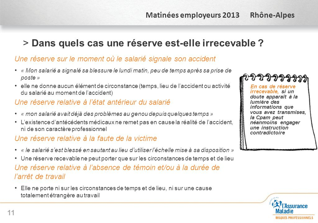 Matinées employeurs 2013 Rhône-Alpes >Dans quels cas une réserve est-elle irrecevable ? Une réserve sur le moment où le salarié signale son accident «