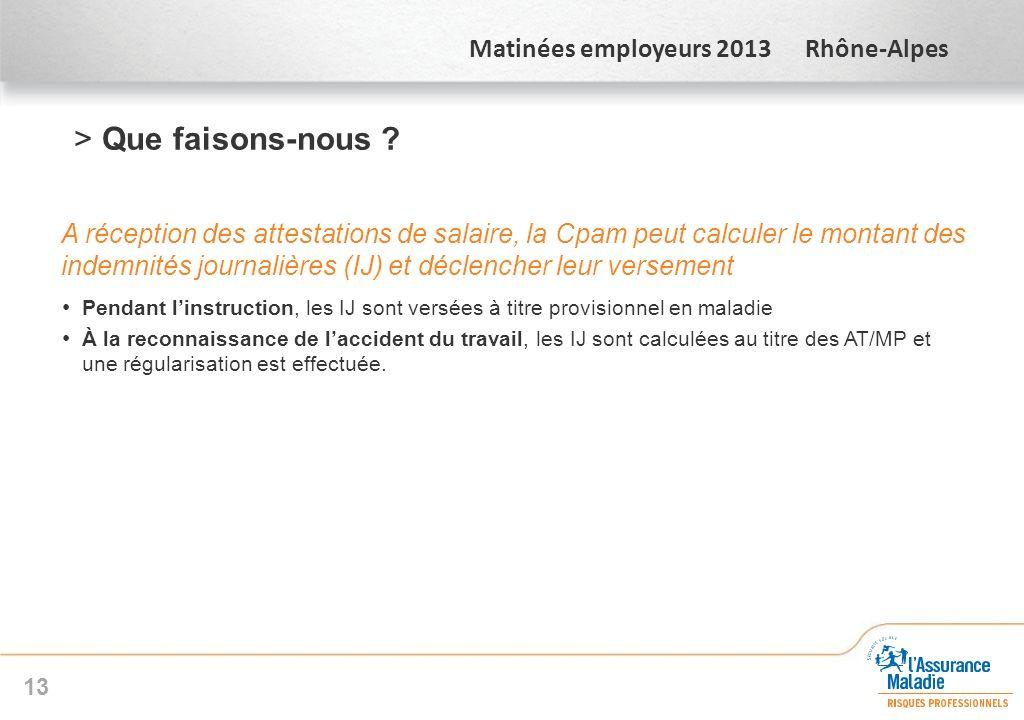 Matinées employeurs 2013 Rhône-Alpes >Que faisons-nous ? A réception des attestations de salaire, la Cpam peut calculer le montant des indemnités jour