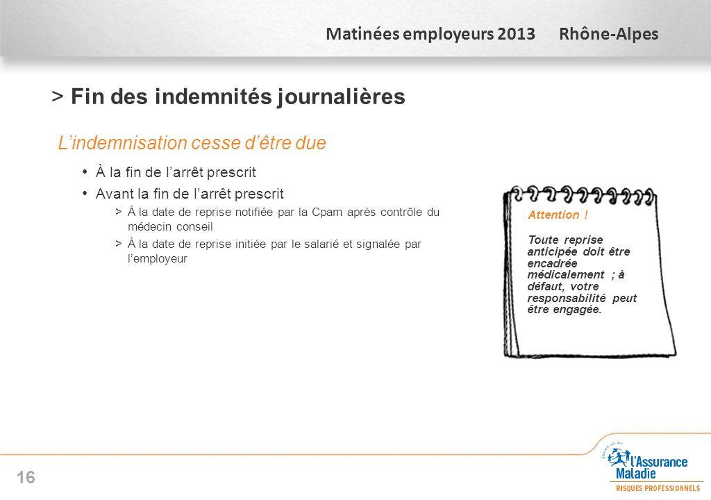 Matinées employeurs 2013 Rhône-Alpes >Fin des indemnités journalières Lindemnisation cesse dêtre due À la fin de larrêt prescrit Avant la fin de larrê