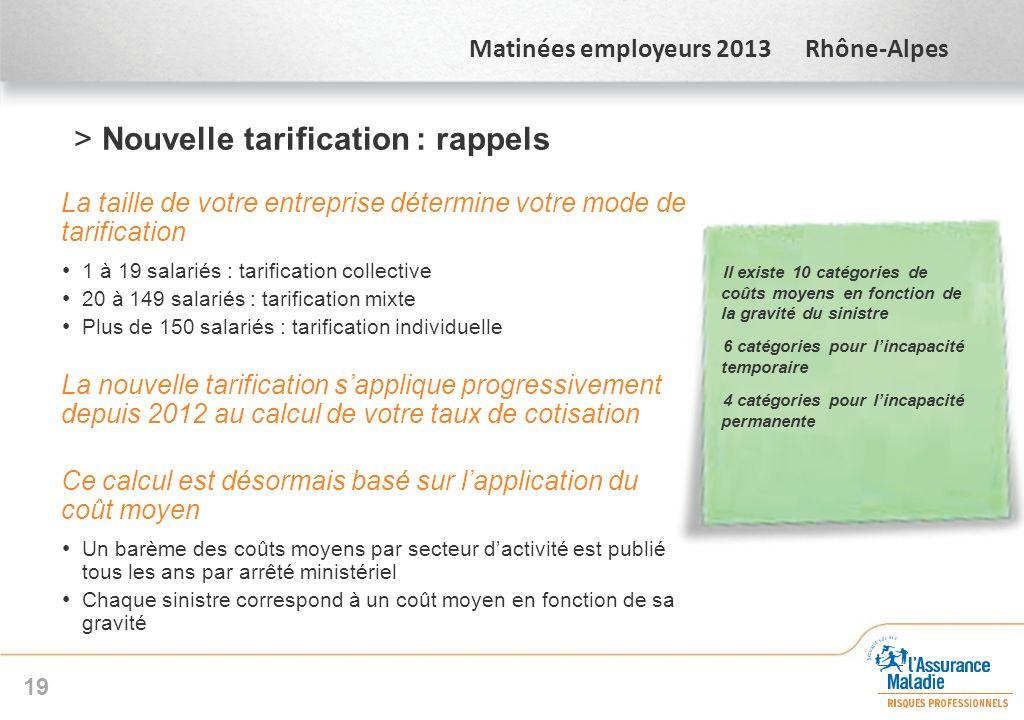 Matinées employeurs 2013 Rhône-Alpes >Nouvelle tarification : rappels La taille de votre entreprise détermine votre mode de tarification 1 à 19 salari