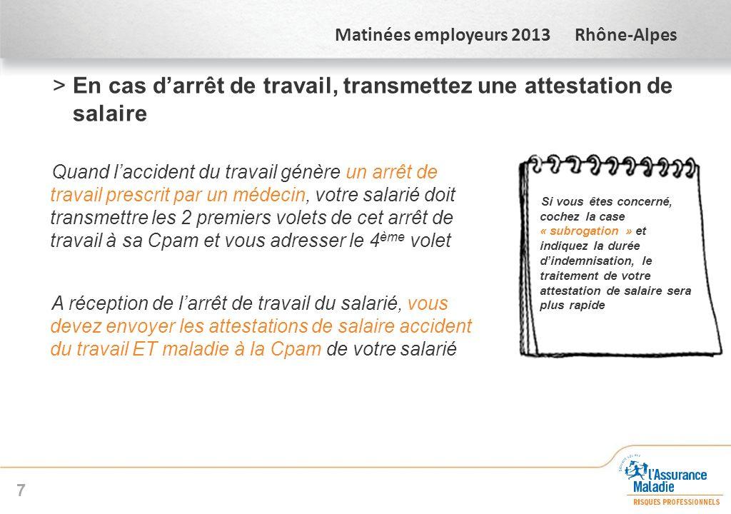 Matinées employeurs 2013 Rhône-Alpes >En cas darrêt de travail, transmettez une attestation de salaire Quand laccident du travail génère un arrêt de t