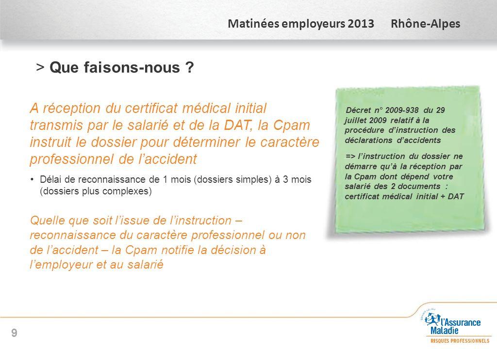 Matinées employeurs 2013 Rhône-Alpes >Que faisons-nous ? A réception du certificat médical initial transmis par le salarié et de la DAT, la Cpam instr