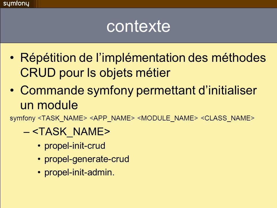 contexte Répétition de limplémentation des méthodes CRUD pour ls objets métier Commande symfony permettant dinitialiser un module symfony – propel-init-crud propel-generate-crud propel-init-admin.