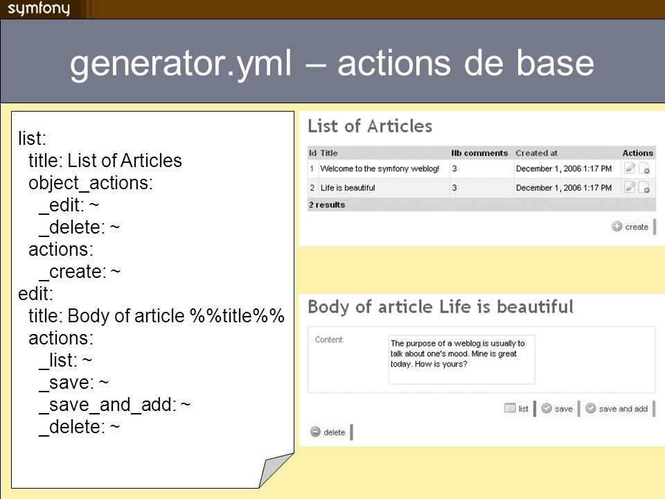generator.yml – actions de base list: title: List of Articles object_actions: _edit: ~ _delete: ~ actions: _create: ~ edit: title: Body of article %title% actions: _list: ~ _save: ~ _save_and_add: ~ _delete: ~