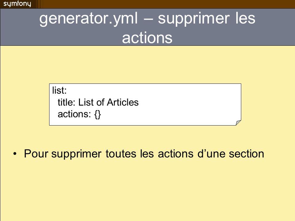 generator.yml – supprimer les actions Pour supprimer toutes les actions dune section list: title: List of Articles actions: {}