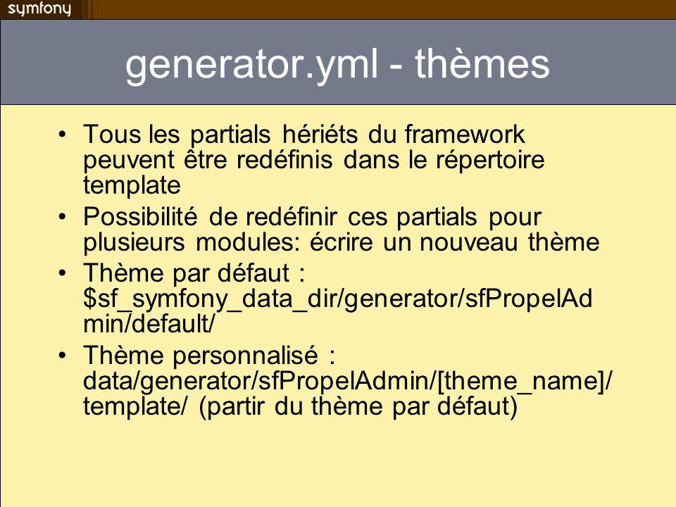 generator.yml - thèmes Tous les partials hériéts du framework peuvent être redéfinis dans le répertoire template Possibilité de redéfinir ces partials