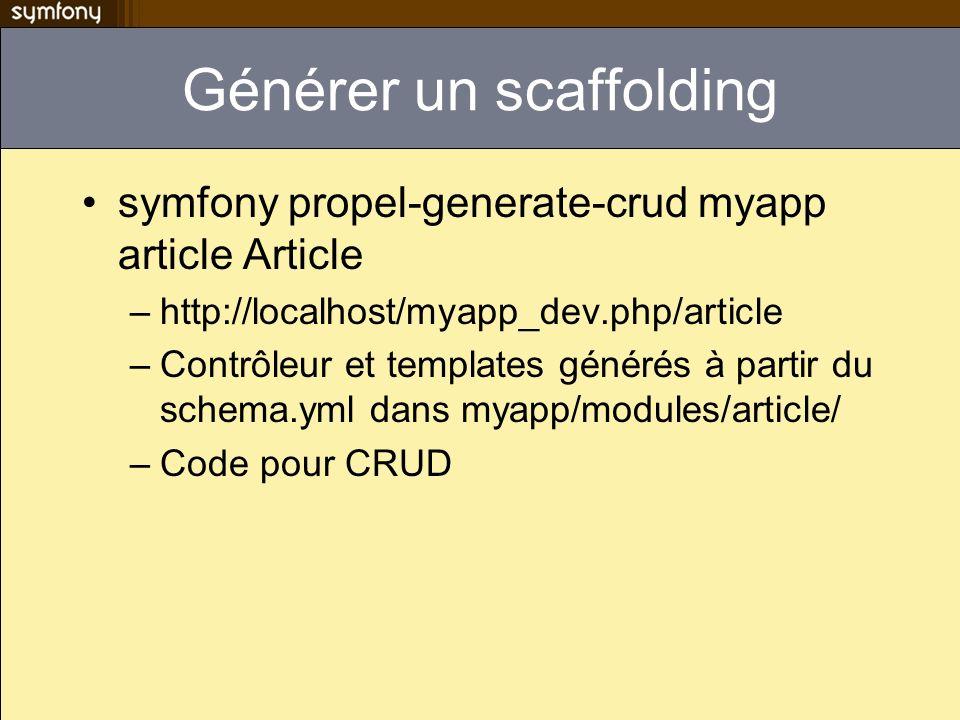 Générer un scaffolding symfony propel-generate-crud myapp article Article –http://localhost/myapp_dev.php/article –Contrôleur et templates générés à partir du schema.yml dans myapp/modules/article/ –Code pour CRUD