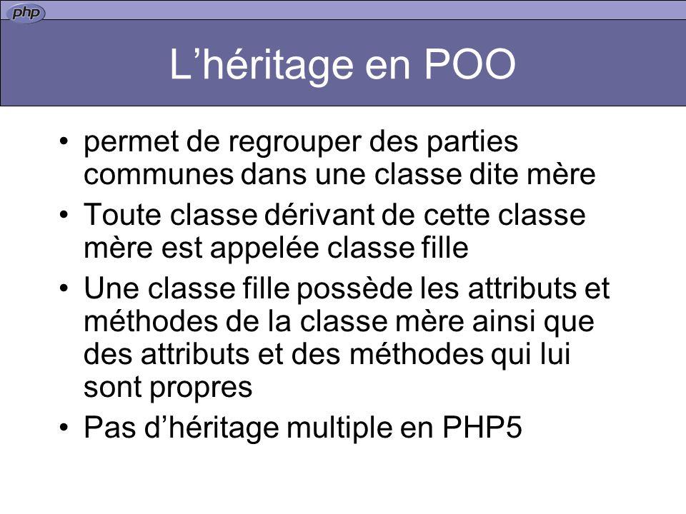 Lhéritage en POO permet de regrouper des parties communes dans une classe dite mère Toute classe dérivant de cette classe mère est appelée classe fille Une classe fille possède les attributs et méthodes de la classe mère ainsi que des attributs et des méthodes qui lui sont propres Pas dhéritage multiple en PHP5